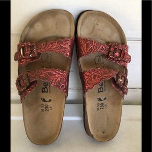 Betula by Birkenstock Embossed Leather Sandals